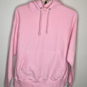 Champion Reverse Weave Hoodie Sweatshirt L Pink
